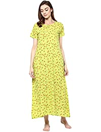 Chhipa Women 100% Cotton Nighty Gown P.Green Maxi Dress Sleepwear