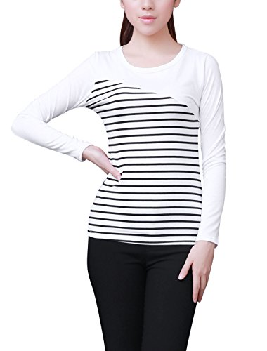 S (US 4) , White : Allegra K Women Round Neck Striped T Shirts Long Sleeve Casual Tops