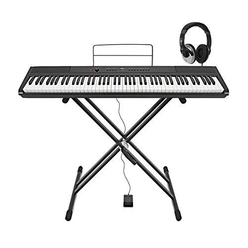 SDP-2-Stage-Piano von Gear4music mit Ständer Pedal und Kopfhörer