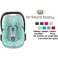 BriljantBaby BabyFit -- 100% Interlock -- Schonbezug / Ersatzbezug -- Frühling / Sommer / Herbst -- Universal Ersatz-Bezug für Babyschale, Autokindersitz z.B. für Maxi-Cosi Citi, Pebble, SPS, Römer etc.** Häschen Jade **