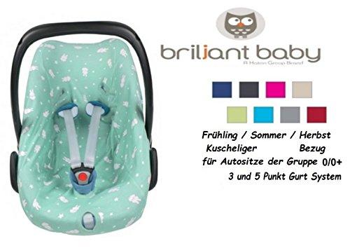Interlock Hat (BriljantBaby BabyFit -- 100% Interlock -- Schonbezug / Ersatzbezug -- Frühling / Sommer / Herbst -- Universal Ersatz-Bezug für Babyschale, Autokindersitz z.B. für Maxi-Cosi Citi, Pebble, SPS, Römer etc.** Häschen Jade **)