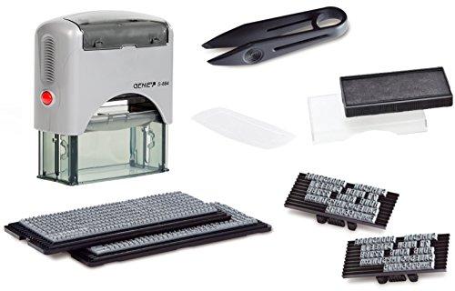 Genie S-884 - Sello autoentintable (5 líneas personalizables, incluye accesorios y almohadillas), color plateado y negro