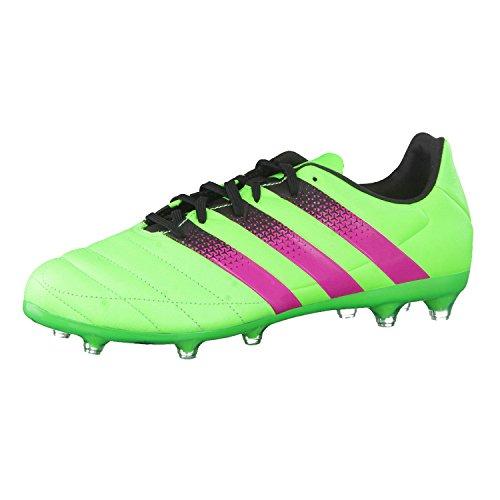 adidas Herren Ace 16.2 FG/AG Leather Fußballschuhe Grün / Pink / Schwarz (Versol / Rosimp / Negbas)