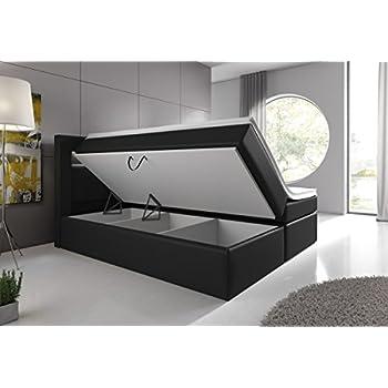 Wohnen-Luxus Boxspringbett 180x200 Schwarz mit Bettkasten