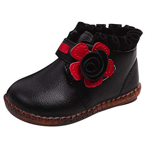 FeiliandaJJ Baby Girl Martin Boots, Toddler Winter Floral Warm Leather Snow Lace Up Boots Sneakers Casual Shoes