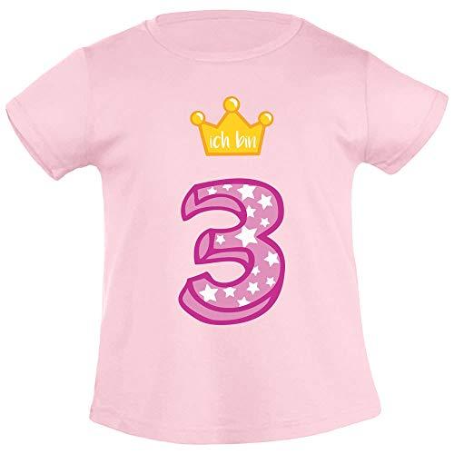Ich Bin DREI Goldene Krone 3 Geburtstag Mädchen T-Shirt 106/116 (5-6J) Rosa - Kinder-goldenen Geburtstag
