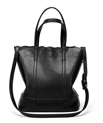 Meiliyh Donna Pizzo Grande Capacità Femminile Borsa Moda Borsa A Tracolla Messenger Bag Nero