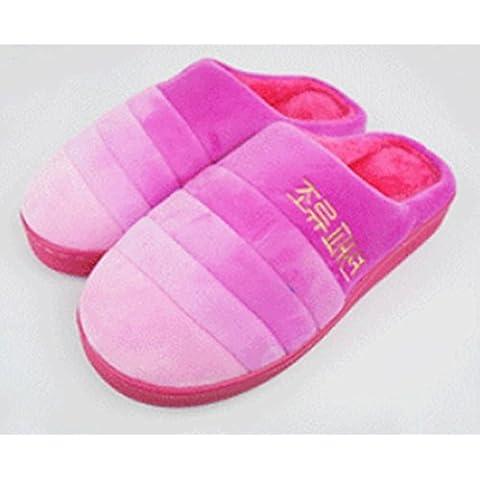 Colore caldo antiscivolo-uomini e donne generale della famiglia cotone pantofole 2 paia di ispessimento , (1.5 Pvc Slittamento)