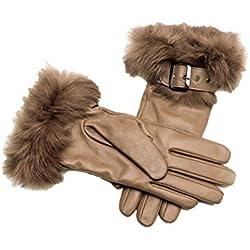YISEVEN Guantes Mujer Pantalla Táctil otoño Invierno de Cuero de Oveja Piel de corder Dedo Completo Calenta Forroda Conejo Largo lujo elegante Térmico muñeca con botón paquete regalo