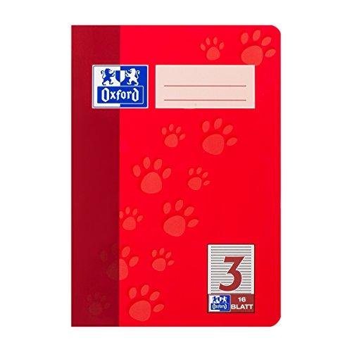 Oxford 385501603/100050408 Junior Heft DIN A5 4-fach sortiert 3. Schuljahr, 90 g/qm, 16 Blatt Pack -