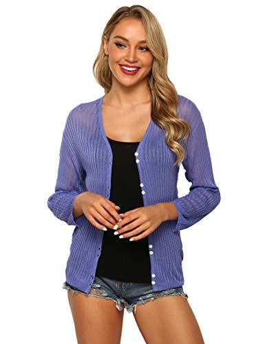 Medium Long Sleeve Top (SIRUITON Damen Netz-Shirt Sexy Mesh Blouse Transparent Tüll Sommer Top Knit Cardigan Mesh Cardigan Long Sleeves Button up Loose Top, Medium(DE38-40), Blau Lila)