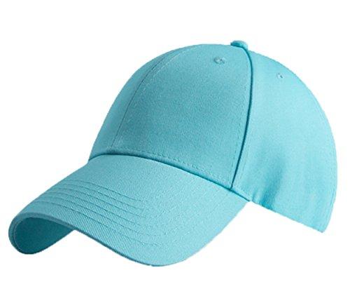 KeepSa Baumwolle Baseball Cap, Basecap Unisex Baseball Kappen, Baseball Mützen für Draussen, Sport oder auf Reisen - Reine Farbe Baseboard Baseballkappe Kappe, Mütze (wasserblau) (Eine Größe einstellbar, Wasserblau)