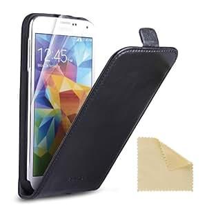 EasyAcc Samsung Galaxy S5 Flip Cover Handytasche Handy Cover Lederhülle Ledertasche Flip case Schutzhülle Hülle Hüllen Tasche Handyhülle für Samsung Galaxy S5 i9600 - Kunstleder, Schwarz