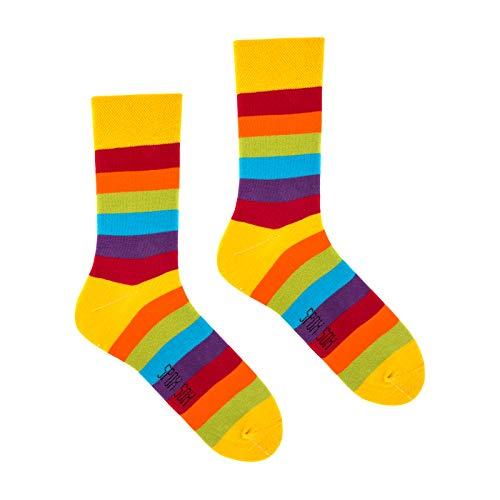 (Spox Sox Casual Unisex - mehrfarbige, bunte Socken für Individualisten, Gr. 44-46, Regenbogen)