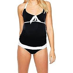 8e4df599b Loving My Bump - Bañador - para mujer multicolor blanco y negro 44