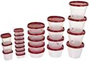 SimpArte Plastic Grocery Container, 26-Pieces, Blushing Red