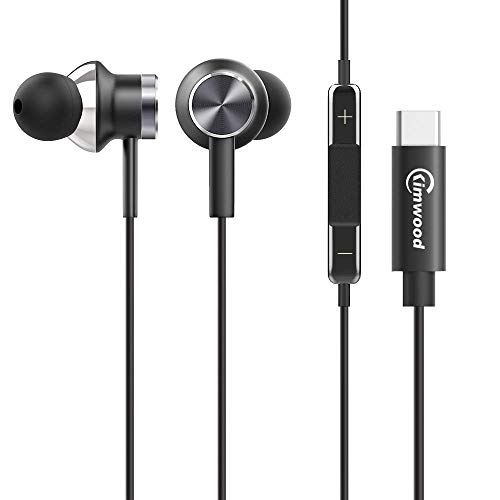 Kimwood USB Typ C In Ear Kopfhörer, Ear Ohrhörer Metallisches Stereo Headset Earphones mit Ohrstöpseln und Mikrofon für Google Pixel3/2/3XL/2XL, Huawei P30/P20Pro, iPad Pro 2018,OnePlus, Samsung S9 Kopfhörer-anschluss