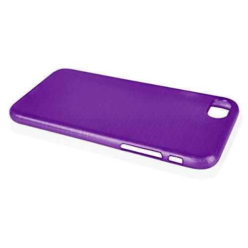 EGO Brushed Silikon Case für iPhone 7, Blau Transparent Handy Tasche Metallic Effect Cover Schutz Hülle Violett Transparent