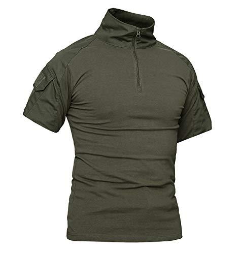 KEFITEVD T-Shirt Herren Taktisch 1/4 Reißverschluss Camouflage Shirt Ärmeltaschen mit Klett Army Uniform Flecktarn Outdoor Hemd Dunkeloliv L (Etikett: 2XL) Multicam Combat Uniform
