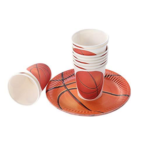 Theme Party Einweg Papier Geschirr Set Papier Kuchen Teller Tassen Basketball Fans Partei Liefert 10 Stücke ()
