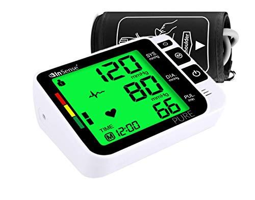 InSense Pure Oberarm Blutdruckmessgerät vollautomatisch Professionelle Pulsmessung Manschette (22cm - 42cm) LCD Großbild Display Arrhythmie Anzeige WHO Ampel-Farbskala