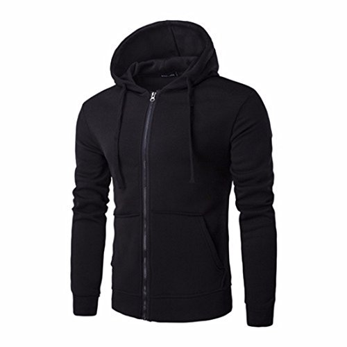 Men's High Quality Zipper Solid Slim Pullovers Casual Hoodie Black