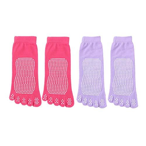 LIOOBO Yoga-Socken für Frauen mit Griffen, Rutschfeste Socken mit fünf Zehen für Pilates, Barre (zufällige Farbe, in 2 Paaren verpackt) - Männer Yoga Griffen Mit Zehen-socken