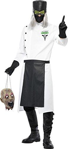 Halloween Kostüm Stiefel Tragen (Smiffys, Herren Dr. D.Ranged Kostüm, Lange Jacke mit Knöpfen, Handschuhe, Hut mit Haar und Maschen-Augenschutz, Maske und Schürze, Größe: L,)