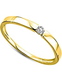 Orovi Damen Verlobungsring Gold Solitärring Diamantring 9 Karat (375) Diamant 0.05crt GelbGold Ring mit Diamanten