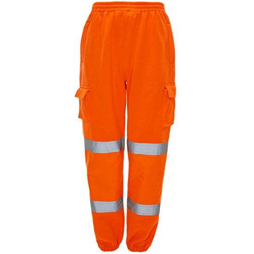 Price comparison product image MyShoeStore Hi Viz Vis Jogging Bottoms High Visibility Combat Cargo Thick Brush Fleece Trousers Reflective Tape Safety Work Wear Elasticated Waist Joggers Sweat Jog Tracksuit Pants Size S-4XL