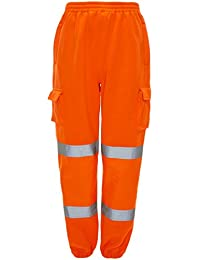 887a0f42ecc6 MyShoeStore Hi Viz Vis Jogging Bottoms High Visibility Combat Cargo Thick  Brush Fleece Trousers Reflective Tape Safety Work Wear Elasticated…