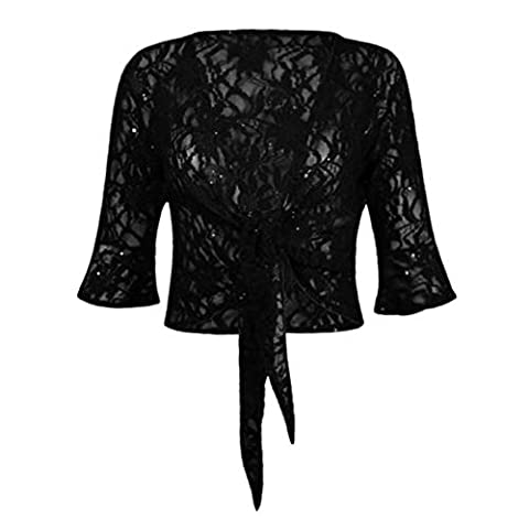 Fashion 4 Less Womens Sequin Lace Floral Tie Knot Bolero Shrug Ladies Frill Crop Top (Knot Pizzo)
