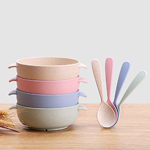 K&C Kleinkinder Fütterung Set Baby Schalen mit Löffel Suppe Schüsseln Snack Schüsseln 2 Set Blue & Green (Kinder-bowling-schuhe Größe 2)