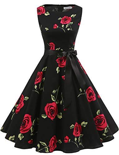 Gardenwed Damen 1950er Vintage Cocktailkleid Rockabilly Retro Schwingen Kleid Faltenrock Black Rose ()