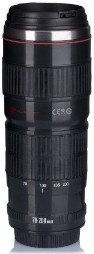"""Preisvergleich Produktbild Kaffeebecher mit Drink & Go Deckel - Schwarz """"Digitalkamera"""" Design 0,5l - Gadget Thermotasse für Unterwegs - Grinscard"""