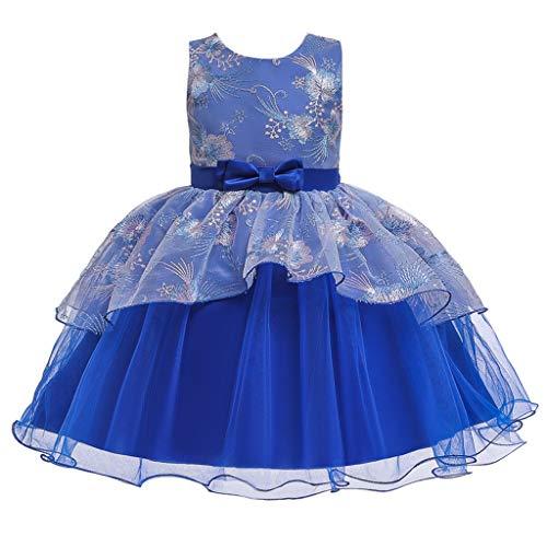 Livoral Mädchen Prinzessin Kleid Blume Baby Brautjungfer Schönheit Kleid Geburtstagsfeier Hochzeitskleid(Blau,3-4 Jahre)