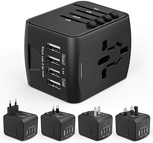 HUANUOReiseadapter Weltweit für 224 Ländern mit 4 USB Ports + 1 AC Steckdose mit LED-Anzeige