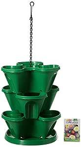 Gardens Need Plastic Stack-A-Pot Hanging Set (Dark Green, 5-Pieces)