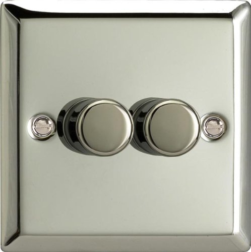 Varilight Classic V-Pro Mirror Chrome 2 Gang LED Trailing Edge Dimmer Switch 1 or 2 Way