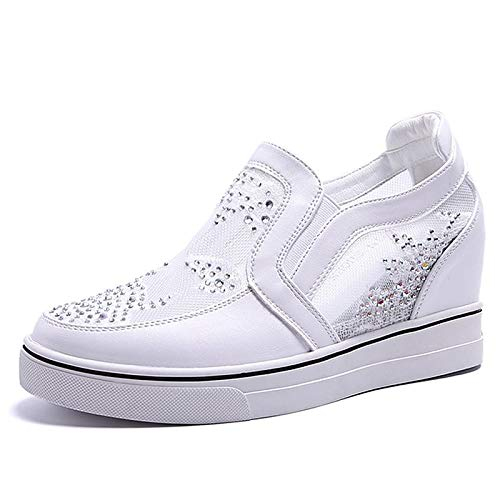 41mBp4%2BZKCL. SS500  - ZHZNVX Women's Shoes PU(Polyurethane) Summer Comfort Sneakers Wedge Heel Round Toe White/Silver