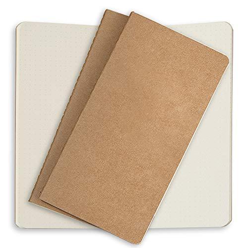 Notizbuch-Nachfüllungen, Notizbuch Einsätze, 3er Set Papier für Leder Reisejournale, Nachfüllbare Tagebücher 21x11cm für Reisetagebücher Notizheft Travelers Notebooks - Punktiert