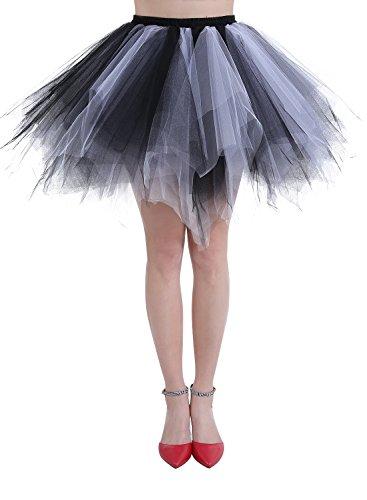 Dressystar Petticoats Minirock Kurz Unterrock Tutu Unregelmäßig Tüll Damen Mädchen Ballettrock Multi-Schichten Schwarz Weiß S