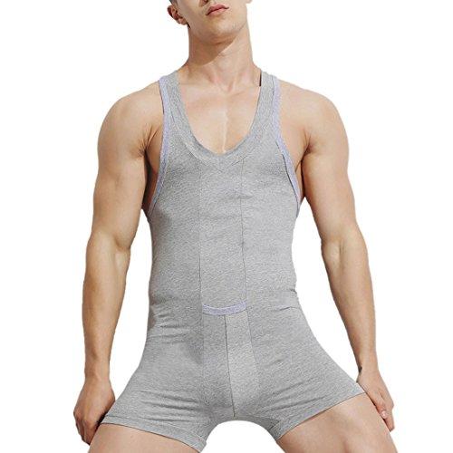 Hommes Plaine sous-vêtements une pièce Gilet Hommes Coton Sexy Pyjamas Survêtements Barboteuses