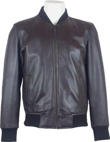UNICORN Männer Echt Leder Jacke Klassiker Bomber Braun #A5 Brown