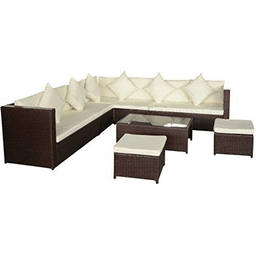 Festnight set divani con tavolo in rattan con cuscini rimovibili 29 pz set mobili da giardino polirattan nero/marrone