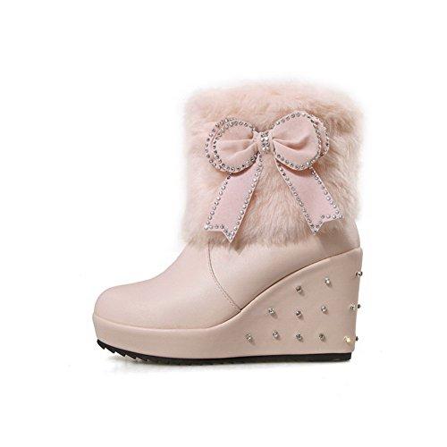VogueZone009 Damen Ziehen auf Hoher Absatz Mitte-Spitze Stiefel mit Schleife, Aprikosen Farbe, 35