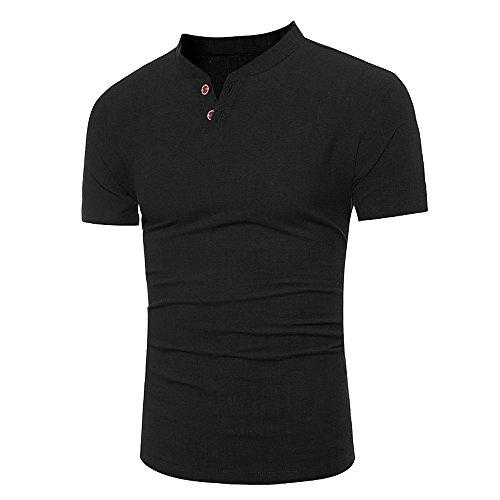 (iLPM5 Hemd Herren SommermodeHerren Baumwolle Leinen T-Shirt Casual V-Ausschnitt Button Kragen Kurzarm T-Shirt(Schwarz, CN-XL/EU-M))