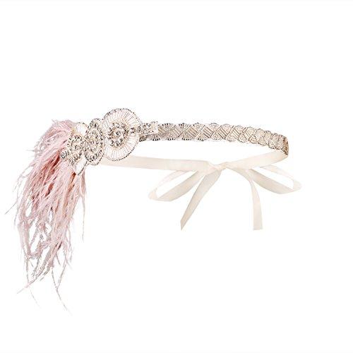 Schwarzes Flapper Kopfstück (Babeyond Damen Feder Stirnband Retro 1920s Flapper Kopfstück Great Gatsby Damen Feder Haar)