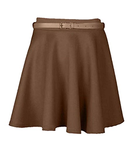 New Ladies Girls Skater Belted Stretch Waist Plain Flippy Flared Jersey Short Skirt Womens Size 8 10 12 14 (S/M, Mocha)