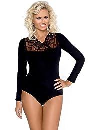 Damen Body Langarm Bodysuit Tanz Body mit Spitze von Gaia BD032